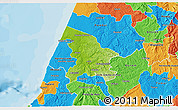Physical 3D Map of Leiria, political outside