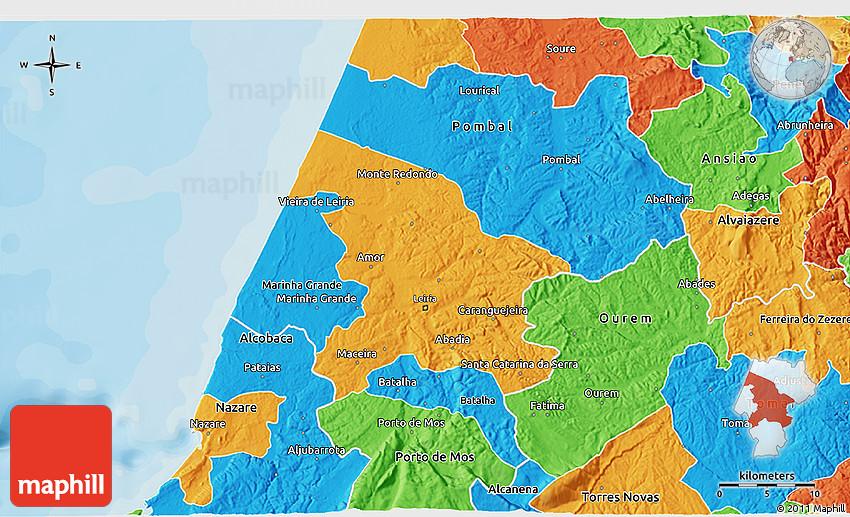 Political 3D Map of Leiria