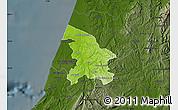 Physical Map of Leiria, darken