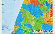 Physical Map of Leiria, political outside