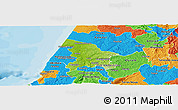 Physical Panoramic Map of Leiria, political outside