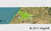Physical Panoramic Map of Leiria, satellite outside