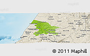 Physical Panoramic Map of Leiria, shaded relief outside