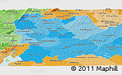 Political Shades Panoramic Map of Lezíria do Tejo