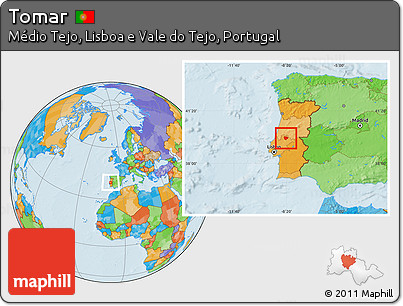 Free Political Location Map Of Tomar - Portugal map tomar
