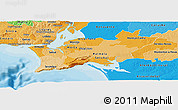 Political Shades Panoramic Map of Península de Setúbal