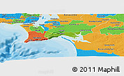 Physical Panoramic Map of Setúbal, political outside