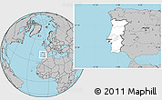 Blank Location Map of Portugal, gray outside