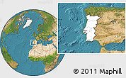Blank Location Map of Portugal, satellite outside