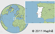 Blank Location Map of Portugal, savanna style outside