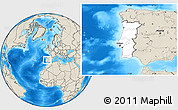 Blank Location Map of Portugal, shaded relief outside