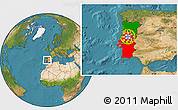 Flag Location Map of Portugal, satellite outside