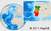 Flag Location Map of Portugal, shaded relief outside