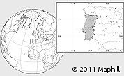 Gray Location Map of Portugal, blank outside