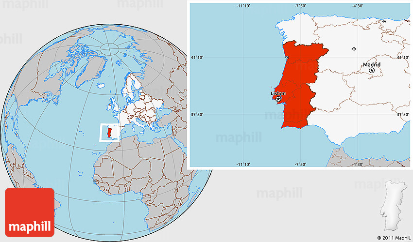 Gray Location Map of Portugal highlighted continent