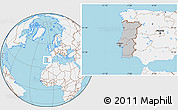 Gray Location Map of Portugal, lighten, land only