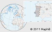 Gray Location Map of Portugal, lighten
