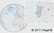 Gray Location Map of Portugal, lighten, semi-desaturated