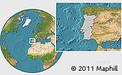 Gray Location Map of Portugal, satellite outside
