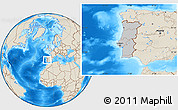 Gray Location Map of Portugal, shaded relief outside