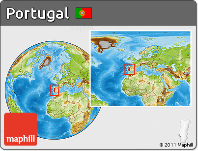 Free Physical Location Map Of Portugal Within The Entire Continent - Portugal map physical