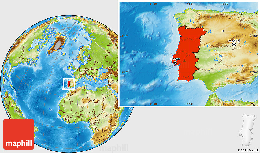 Physical Location Map Of Portugal - Portugal map