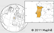 Political Location Map of Portugal, blank outside