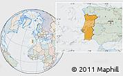 Political Location Map of Portugal, lighten, semi-desaturated