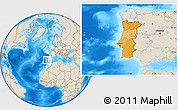 Political Location Map of Portugal, shaded relief outside
