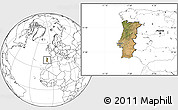 Satellite Location Map of Portugal, blank outside