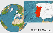 Satellite Location Map of Portugal, highlighted continent