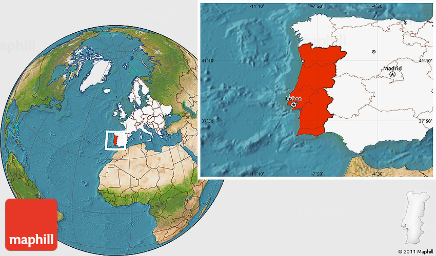 Satellite Location Map of Portugal highlighted continent