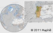 Satellite Location Map of Portugal, lighten, desaturated