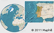 Satellite Location Map of Portugal, lighten, land only