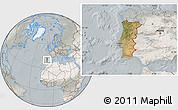 Satellite Location Map of Portugal, lighten, semi-desaturated