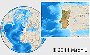 Satellite Location Map of Portugal, shaded relief outside