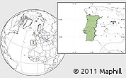 Savanna Style Location Map of Portugal, blank outside