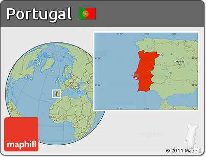 Free Savanna Style Location Map Of Portugal - Portugal map location