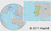 Savanna Style Location Map of Portugal, gray outside