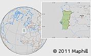 Savanna Style Location Map of Portugal, lighten, desaturated