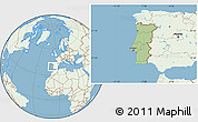 Savanna Style Location Map of Portugal, lighten, land only