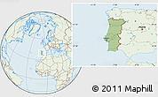 Savanna Style Location Map of Portugal, lighten