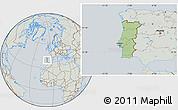 Savanna Style Location Map of Portugal, lighten, semi-desaturated