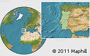 Savanna Style Location Map of Portugal, satellite outside