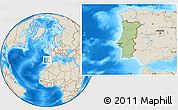 Savanna Style Location Map of Portugal, shaded relief outside