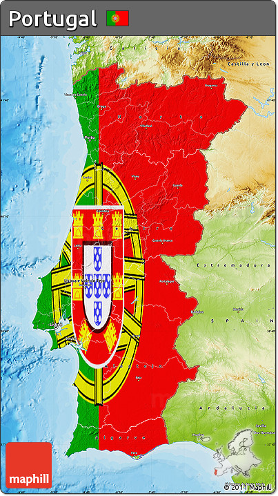 Free Flag Map Of Portugal Physical Outside Bathymetry Sea - Portugal map sea