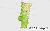 Physical Map of Portugal, cropped outside