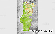 Physical Map of Portugal, desaturated