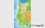 Physical Map of Portugal, political outside, shaded relief sea