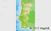 Physical Map of Portugal, political shades outside, shaded relief sea